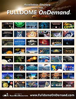 A FULLDOME OnDemand poster of offerings.